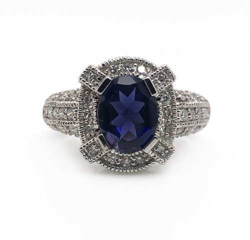 14k White Gold 3 TCW Diamond And Blue Sapphire Halo Ring