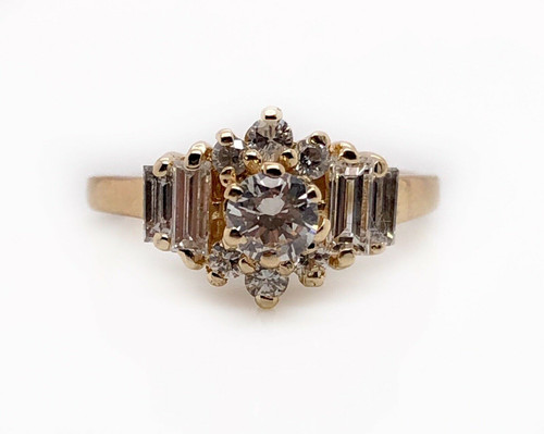 14k Yellow Gold 1 TCW Natural Round & Emerald Diamond Cluster Ring VS2, G-H