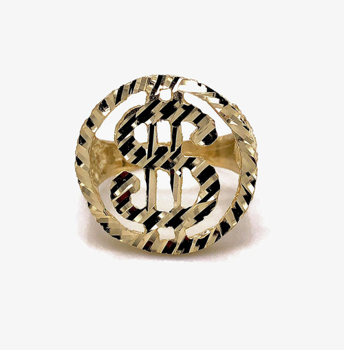Mens Ring 10K Solid Yellow Gold Diamond Cut Lucky Dollar Sign Ring 6.7 Grams