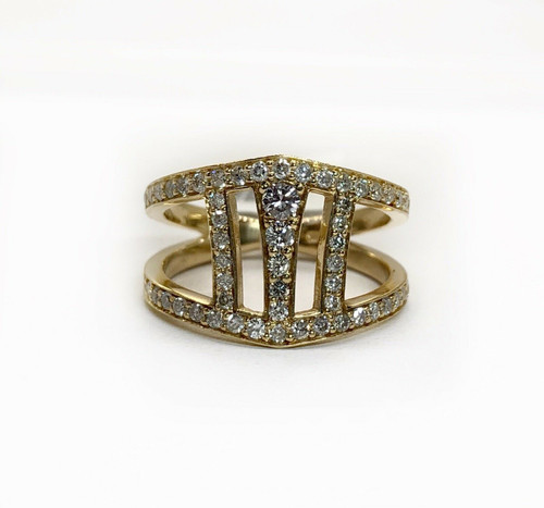 0.60 TCW Natural Diamond 14K Solid Yellow Gold Womens Wide Ring, I1, H Size 5.75
