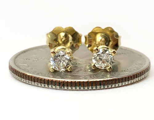 0.33 TCW H/SI Round Diamond Solitaire Stud Earrings 14K Yellow Gold Push Back
