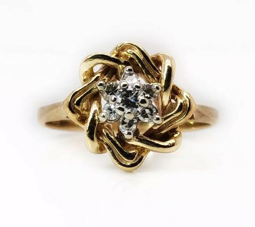 14K Yellow Gold 0.18 TCW Natural Round Diamond Flower Ring Size 7.5 Women's Ring