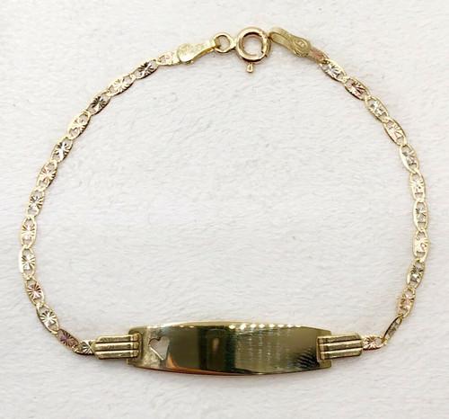 "Tri Color 14k Gold Valentino Chain Baby ID Bracelet 6"""