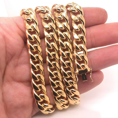 """81.4 Grams 10k Yellow Gold Mens Miami Cuban Link Chain Necklace 26"""" 10 MM"""