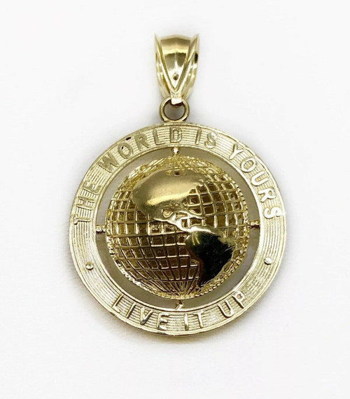 """10K Yellow Gold Round Globe Planet Earth World Map Two Sided Pendant 1"""" 4.5Gr"""
