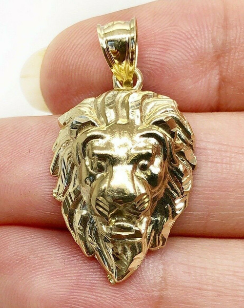 """10K Solid Yellow Gold Lion Head Face Pendant Charm 4 Grams, 1.14"""""""