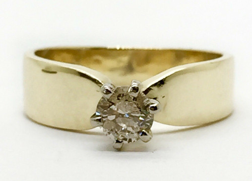 14K Yellow Gold 0.20 Ct Natural Round Diamond Solitaire Womens Engagement Ring
