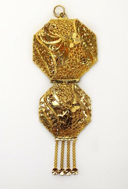 "18k Solid Yellow Gold Indian, Arabic Filigree Pendant 19.2 Grams 3.94"""
