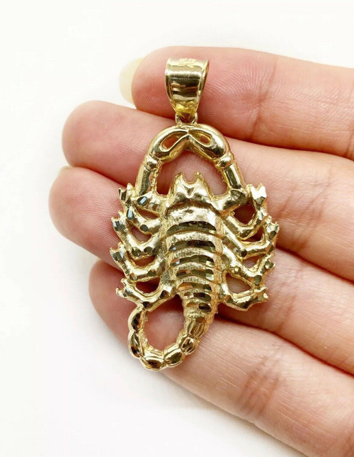 "Men 10K Solid Yellow Gold Scorpion Pendant 6.5 Grams, 1.81"" Large"