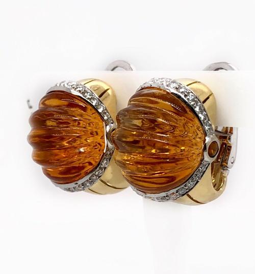 18k Yellow Gold Natural Diamond & Glyptic Citrine Huggie Earrings 17.3 Gr VS2,G