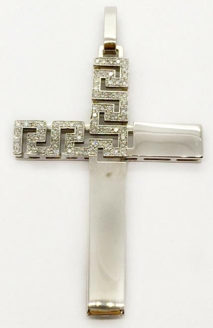 """Men's 14K White Gold 0.65 TCW Natural Diamond Greek Key Cross Pendant 1.85"""""""