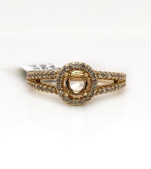 0.38Ct Diamond Semi Mount Halo Ring 14k Yellow Gold Split Shank Round Center 5mm
