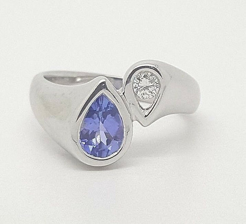 14k White Gold Natural Diamond and Pear Tanzanite Bypass Ring 3/4 TCW Size 6.75