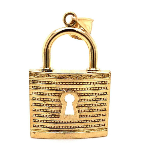 Men's 10K Solid Yellow Gold Large Pad Lock Pendant 2 Inches
