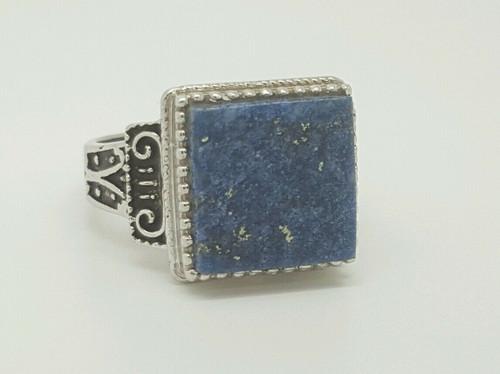Vintage Design 18k White Gold Lapis Lazuli Signet Ring Size 6 Mens/Womens