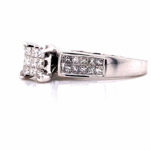 14k White Gold 1.00 CTW Natural Diamond Engagement Ring