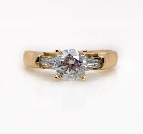 14k yellow gold cubic zirconia three stone style engagement ring size 8