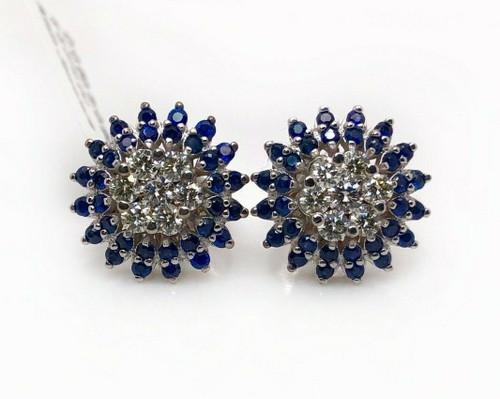 18k White Gold 1.5 Ct Natural Diamond & Sapphire Flower Cluster Earrings SI1