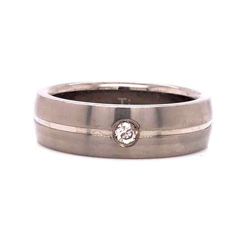 Titanium Diamond Ring Natural 0.10 Ct Solitaire Band 7 mm Size 11 Men's