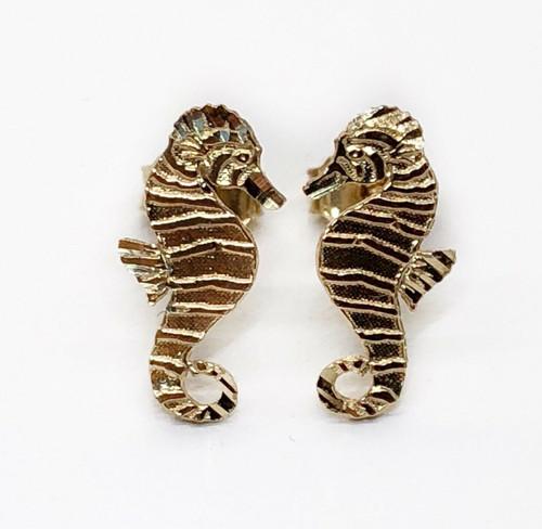 14k Solid Yellow Gold Seahorse Stud Earrings Women/Men/Children Push Back 13 MM