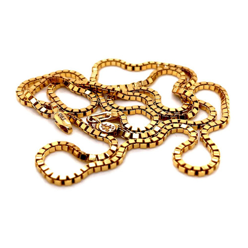 """18k Solid Yellow Gold Mens Box Chain Necklace 23.75"""", 2.3 MM 19.2 Grams"""