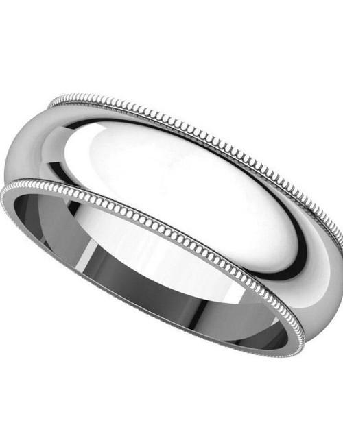 Solid 14K White Gold 6 MM Size 10 Milgrain Wedding Ring Band Mens Womens