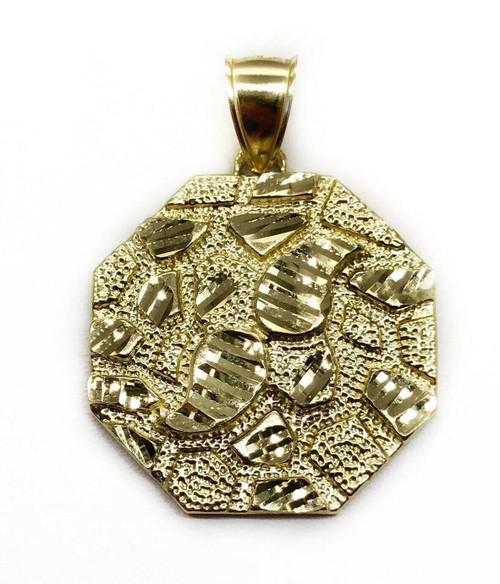 "Mens 10K Yellow Gold Diamond Cut Nugget Octagonal Shape Pendant 6.7 Grams 1.18"""