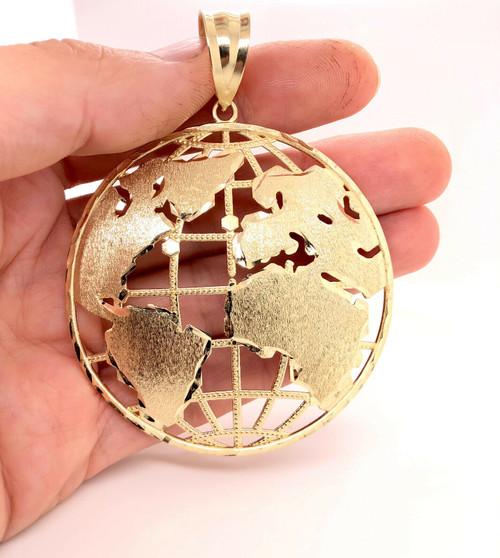 "10K Yellow Gold XLarge Round Globe Planet Earth World Map Pendant 2.2"" 14.7 Gr"