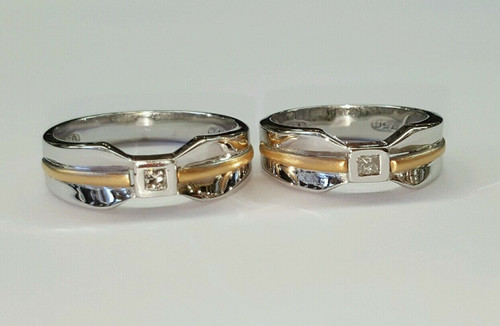 18k solid two tone gold natural diamond His and Hers solitaire wedding band set