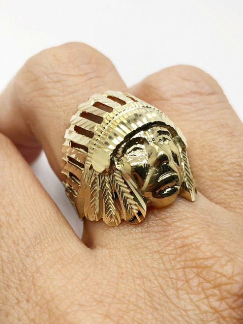 Mens Ring 10K Solid Yellow Gold Diamond Cut Indian Chief Head Ring 6.8 Grams