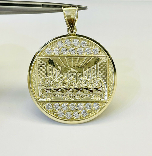 """10K Solid Yellow Gold Last Supper Jesus Religious Pendant 7.1 Gr 1.42"""" Large"""