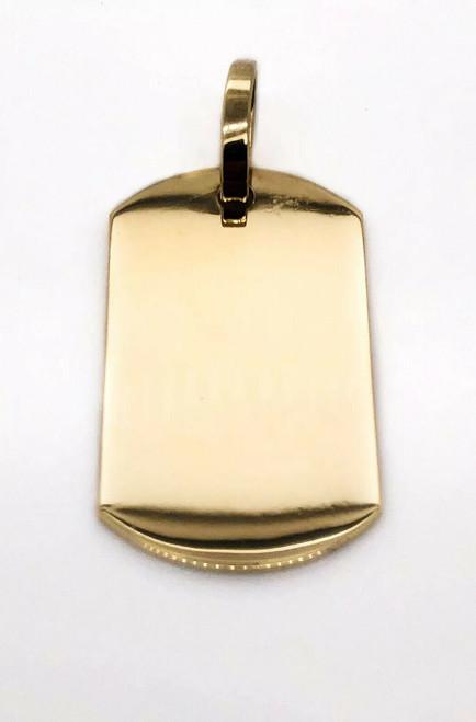 "Mens 10K Solid Yellow Gold Custom Large Dog Tag Charm Pendant 2.04"" 15.4 Grams"