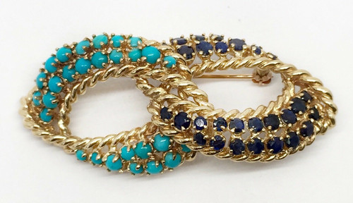 Vintage 14k Yellow Gold Infinity Love 4.4 Ct Sapphire and Turquoise Pin Brooch