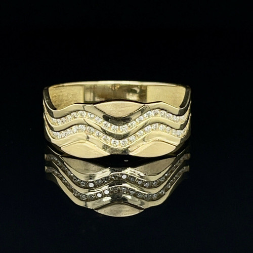 18k Solid Yellow Gold 0.60 Ct Natural Round Diamond 8 mm Mens Ring Size 9.5