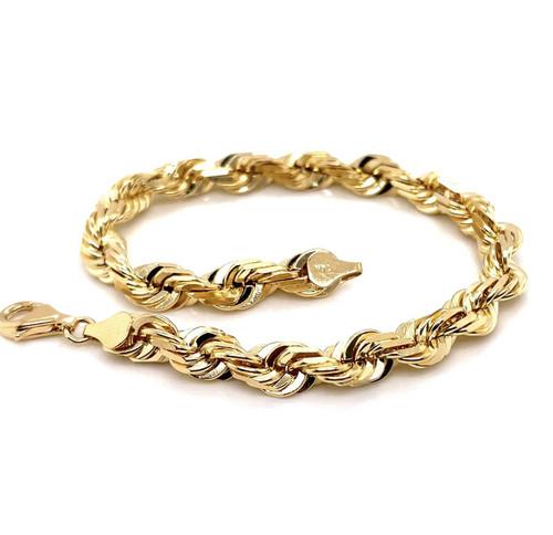 "Mens 14K Solid Yellow Gold Diamond Cut Rope Bracelet 9"" 36.1 Grams 6.2 mm"