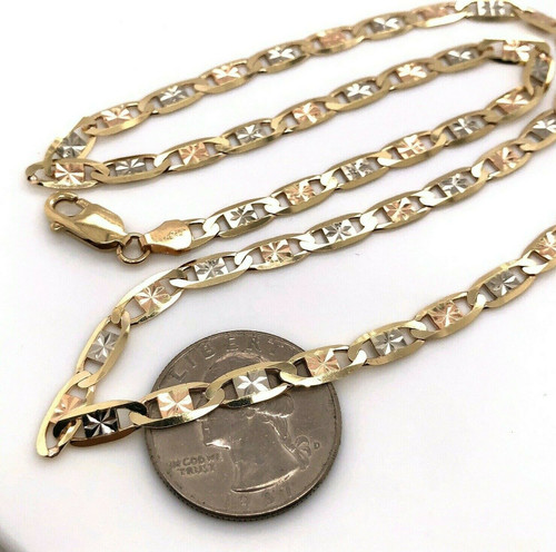"""10k Solid Tri Color Gold Valentino Chain Necklace 4.3 mm 23.75"""" 10.6 Gr"""