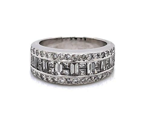 18K Solid White Gold 2 Ct Natural Straight Baguette Diamond Ring VS2, G