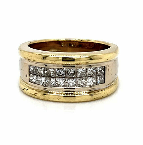 18K Solid Two Tone Gold 2.4 Ct Natural Princess Cut Diamond Mens Ring 18.5 Grams