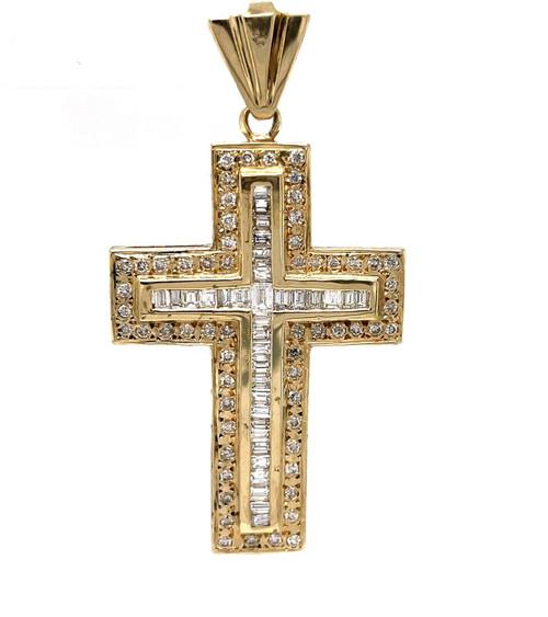 "14k Yellow Gold 5 Ct Natural Straight Baguette Diamond Mens Cross Pendant 1.81"""