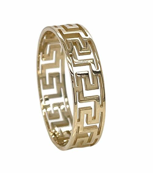 14K Yellow Gold 6 MM Greek Key Band Ring Size 11, Unisex