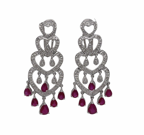 """14K Solid White Gold 3.16 Ct Natural Diamond and Ruby 1.57"""" Chandelier Earrings"""
