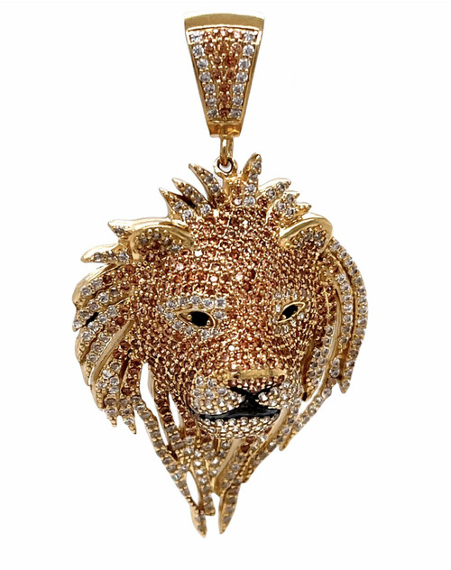 """Mens 14K Solid Yellow Gold Lion Head Face Pendant Charm 11 Grams, 1.57"""" Large"""