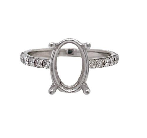 18K White Gold Oval Semi Mount Ring 0.61 Ct Natural Diamond 10.5x8.5 mm Center