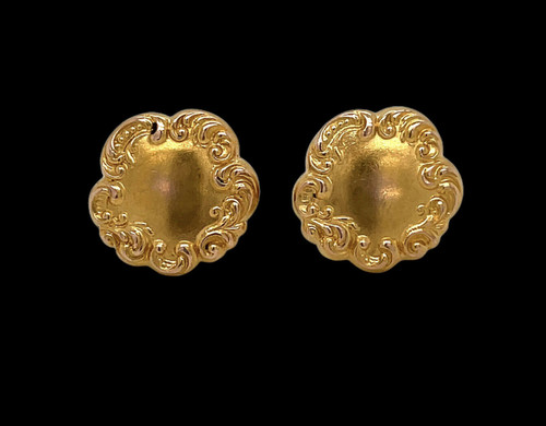 Shreve & Co. Antique 14K Solid Yellow Gold Floral Cufflinks