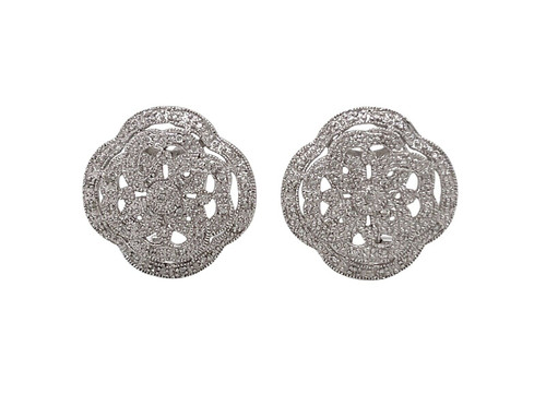 14k Solid White Gold 0.40 Ct Natural Diamond Omega Back Wide Earrings