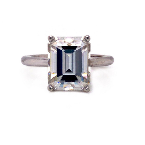 3.42 Ct Emerald Cut White Moissanite 18k White Gold Solitaire Engagement Ring