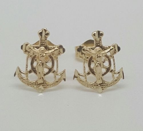 14k Yellow Gold Christ/Mariners Anchor Cross Stud Earrings Push Back 11MM