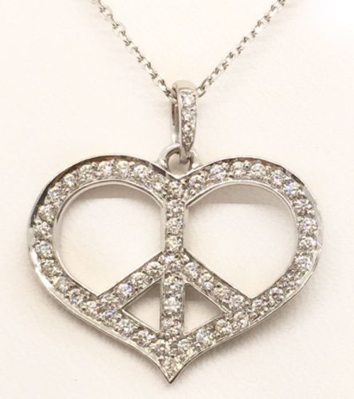 18k White Gold Peace Heart Pendant and Link Chain 0.55 TCW Round Diamond VS1- G