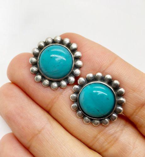 b20b404e6 Vintage 925 Sterling Silver Natural Turquoise Flower Stud Earrings ...