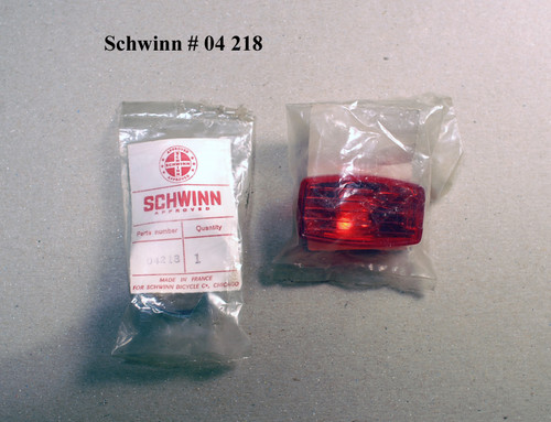 "Schwinn Part #   4218      Red Lens 2 1/8 x 1 1/4"" and Reflector (2 pieces)"
